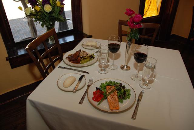 Dinner on a set table