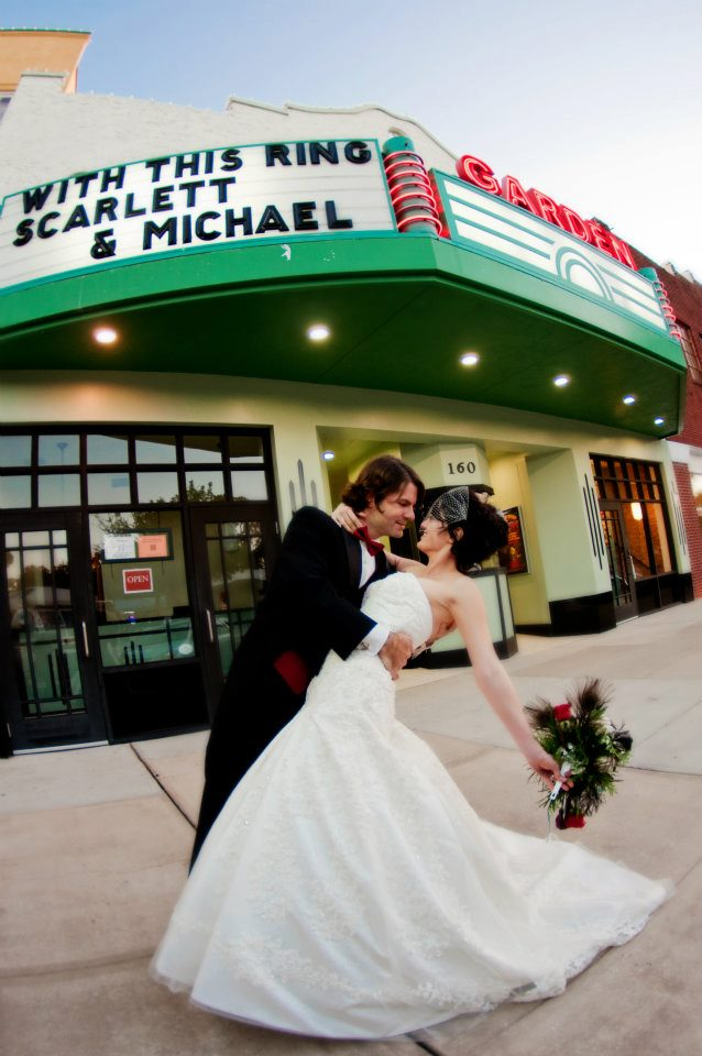 Wedding Couple in front of Garden Theater